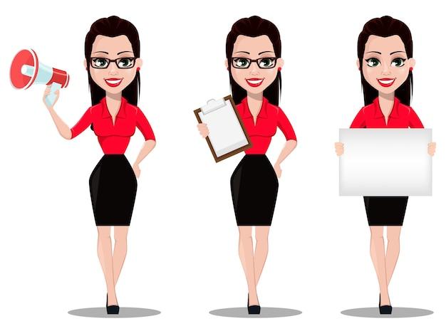 Mooie kantoorassistent in kantoorstijlkleren