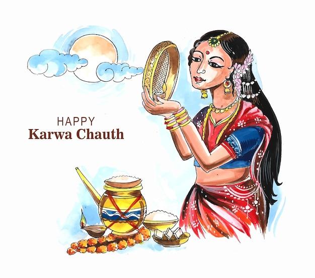 Mooie karwa chauth viering festival kaart achtergrond