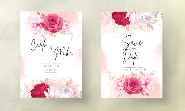 Mooie kastanjebruine en bruine bloemen bruiloft uitnodigingskaart