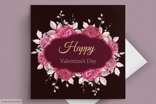 Mooie kastanjebruine valentijnsdag kaartsjabloon