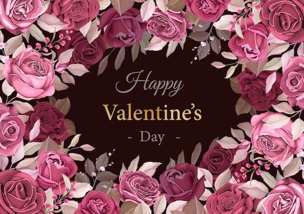 Mooie kastanjebruine valentijnsdag sjabloon