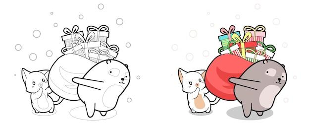 Mooie kat en beer tillen zak met cartoon kleurplaat van de geschenkdoos