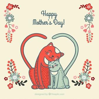 Mooie kat kaart van de moederdag