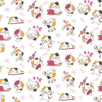 Mooie kat op verschillende emoties en uitdrukkingen naadloze patroonachtergrond