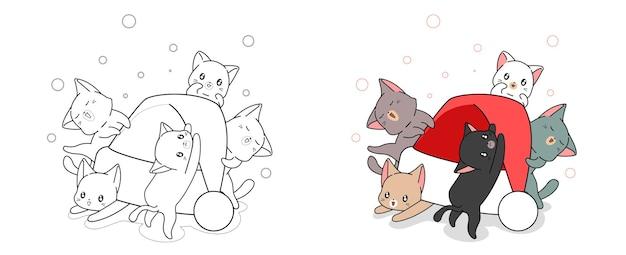 Mooie katten en kerstmuts cartoon kleurplaat