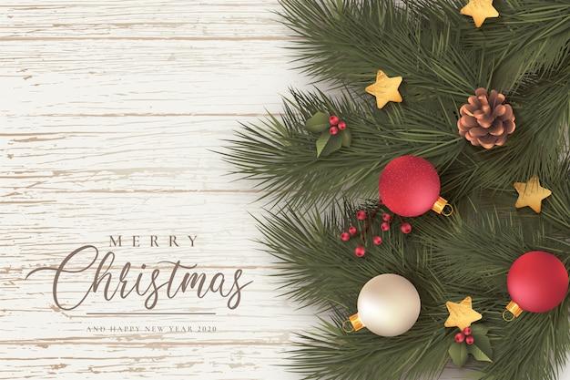 Mooie kerst achtergrond met bladeren en ornamenten