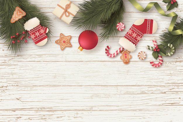 Mooie kerst achtergrond met geschenken en ornamenten