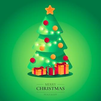Mooie kerst achtergrond met schattige boom