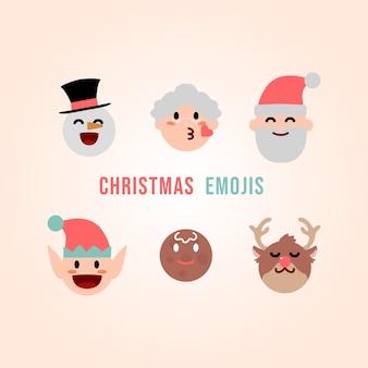 Mooie kerst emoji collectie gratis vector