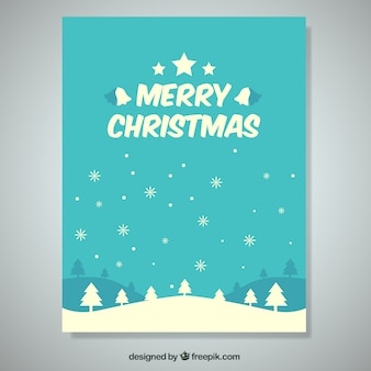 Mooie kerst kaart met bomen en sneeuwvlokken