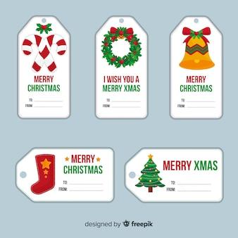 Mooie kerst label collectie met platte ontwerp