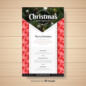 Mooie kerst menusjabloon met foto