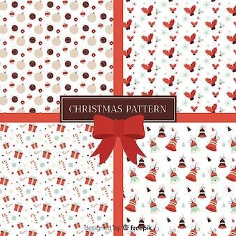 Mooie kerst patroon collectie met platte ontwerp