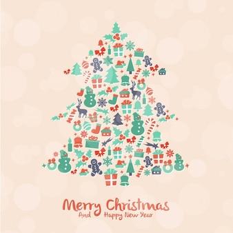 Mooie kerstboom gemaakt van elementen