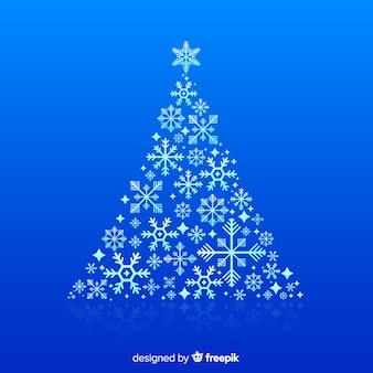 Mooie kerstboom met sneeuwvlokken