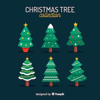 Mooie kerstboomcollectie met plat ontwerp