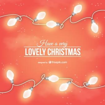 Mooie kerstkaart met gloeilampen