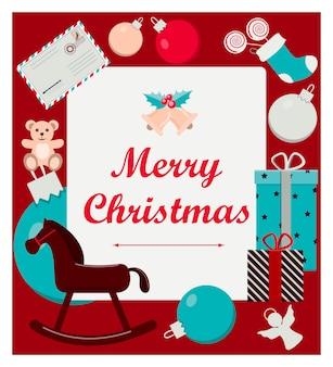 Mooie kerstkaart met speelgoed en cadeaus vlakke afbeelding voor een websitewinkel of app