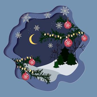 Mooie kerstkaart op blauwe achtergrond