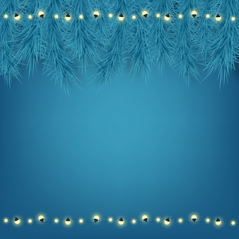 Mooie kerstkaart op blauwe achtergrond.