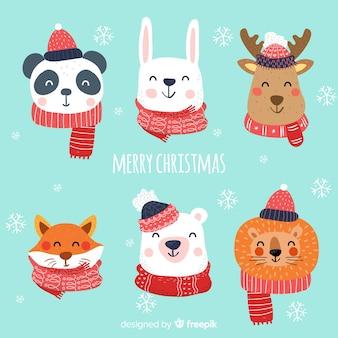 Mooie kerstkarakter collectie met plat ontwerp