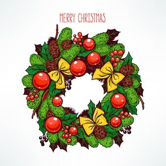 Mooie kerstkrans met dennentakken en hulstbladeren. handgetekende illustratie
