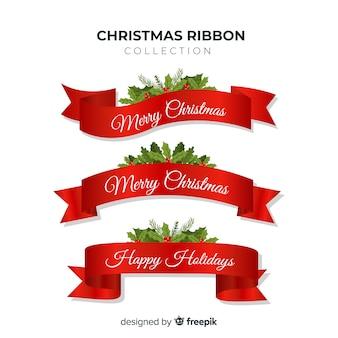 Mooie kerstlint collectie met plat ontwerp