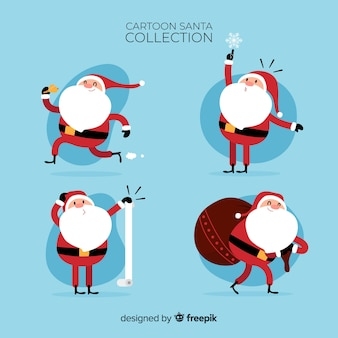 Mooie kerstman karakter collectie met platte ontwerp