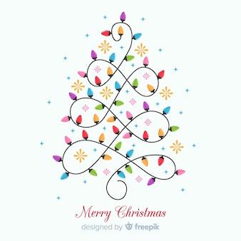 Mooie kerstmisachtergrond met gloeilampenboom