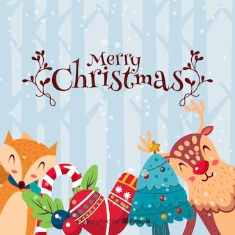 Mooie Kerstmisachtergrond met vlak ontwerp