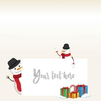 Mooie kerstmissneeuwman en santa clause-achtergrond met vlak ontwerp