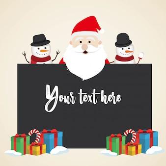 Mooie kerstmissneeuwman en santa clause-achtergrond