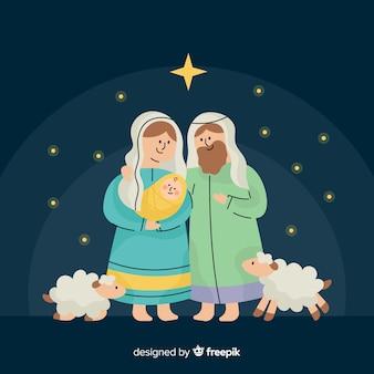 Mooie kerststal scenachtergrond in platte ontwerp