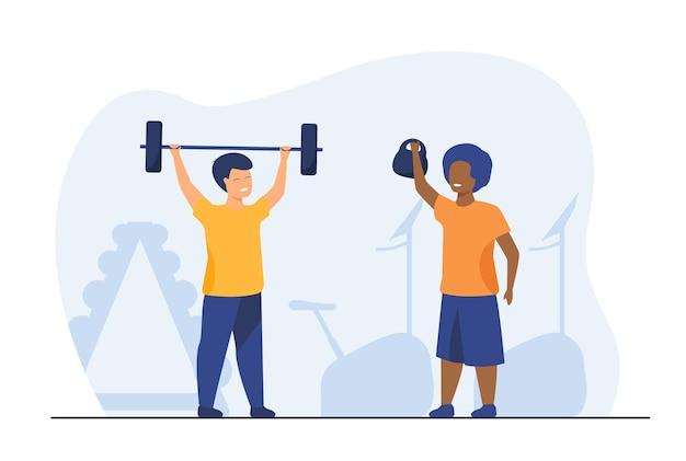 Mooie kinderen trainen samen in de sportschool. halter, kind, gezondheid vlakke afbeelding. cartoon afbeelding