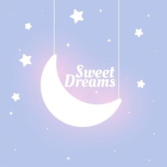 Mooie kinderstijl zoete dromen maan en sterren achtergrond