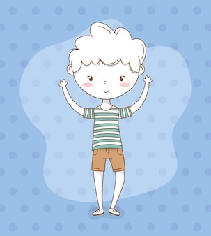 Mooie kleine jongen met gestippelde achtergrond