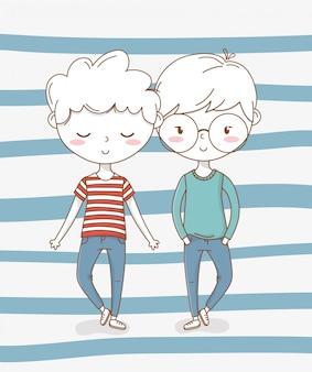Mooie kleine jongens koppelen karakters