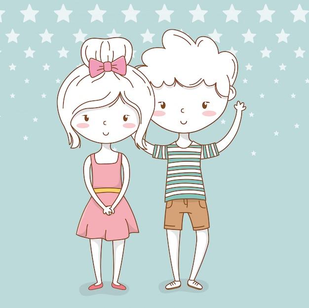 Mooie kleine kinderen paar met gestippelde achtergrond