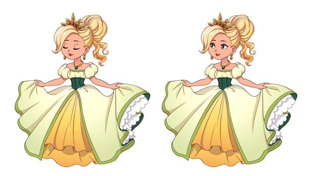 Mooie kleine prinses met blond haar en een gebruinde huid in een witte baljurk