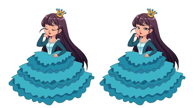 Mooie kleine prinses met zwart haar en een gebruinde huid die een cyaan baljurk draagt. grote cartoon hoofd. open en gesloten ogen versies. hand getekende vectorillustratie voor prenten, kaarten, kinderspel.