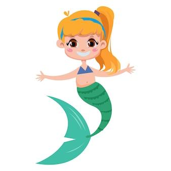 Mooie kleine zeemeermin met blond blond haar en een jong meisje met een staart