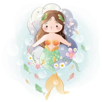 Mooie kleine zeemeermin zittend op een mosselbank