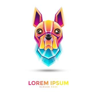 Mooie kleurrijke hond logo sjabloon