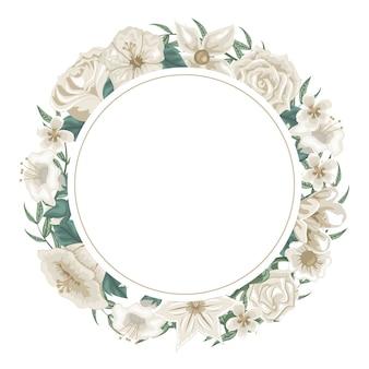 Mooie krans van bloemen en witte rozen voor toewijding