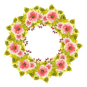 Mooie kroon met bloemen en takken voor huwelijksuitnodigingen en verjaardagskaarten