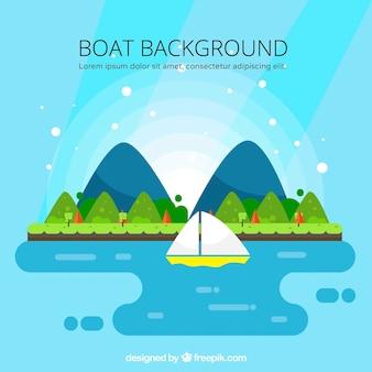 Mooie landschap achtergrond met boot in plat ontwerp