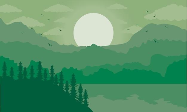 Mooie landschapsscène met groene meerillustratie