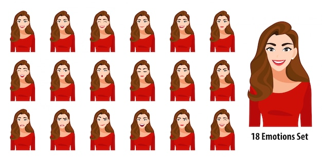 Mooie lange haren dame in rood shirt met verschillende gezichtsuitdrukkingen set geïsoleerd in cartoon karakterstijl