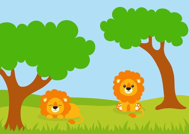 Mooie leeuwen zitten op een open plek in het bos