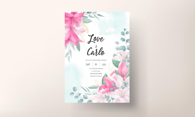 Mooie lelie bloem bruiloft uitnodigingskaart Premium Vector